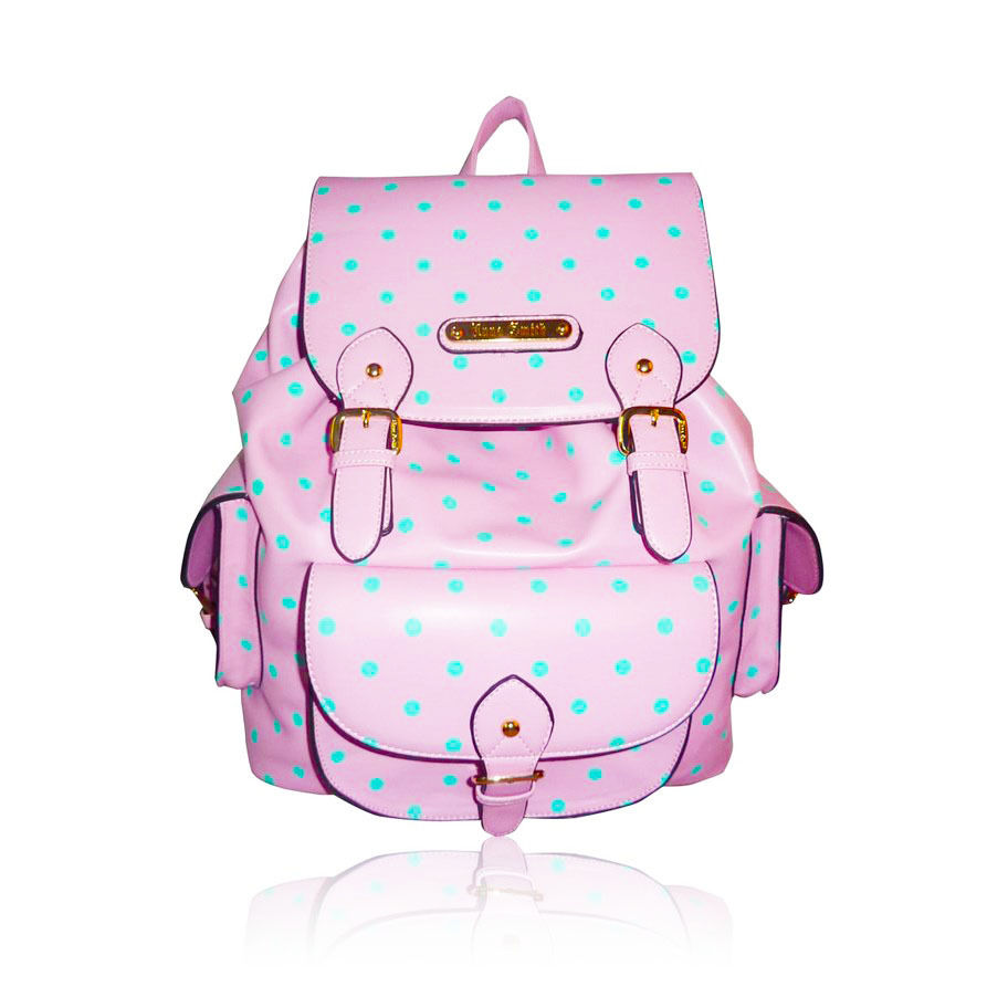 Pink Polka Dot Rucksack Backpack | eBay