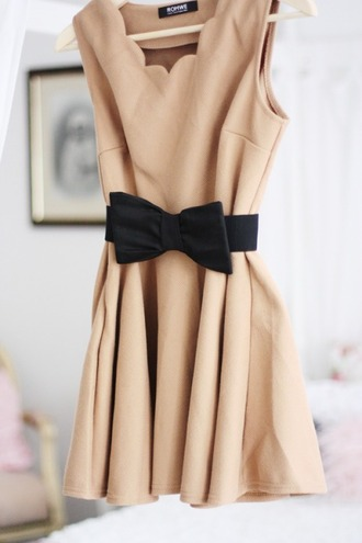 dress beige dress cute bow dress elegant dress nude dress