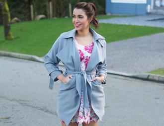 gumboot glam blogger dress coat shoes