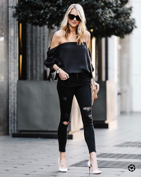 top tumblr black top off the shoulder off the shoulder top denim jeans black jeans ripped jeans skinny jeans pumps pointed toe pumps high heel pumps sunglasses bag black off shoulder top black ripped jeans white stilettos blogger