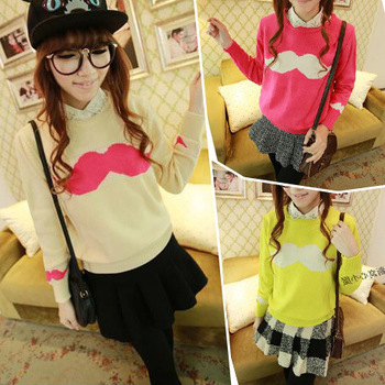 B45 2014 korea new fashion women's clothing long sleeve knitwear mustache print pullovers casual sweater freeshipping