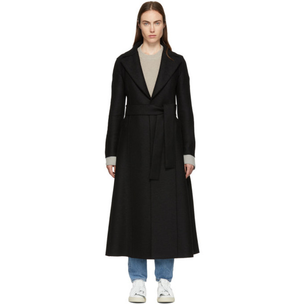 Harris Wharf London Black Pressed Wool Long Duster Coat