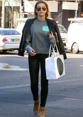 sweater sweatshirt hailey baldwin jacket pants shoes