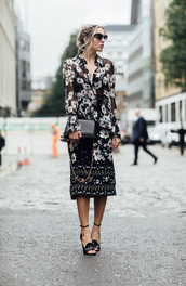camila carril,blogger,shirt,skirt,date outfit,floral dress,midi dress,long sleeves,fall outfits