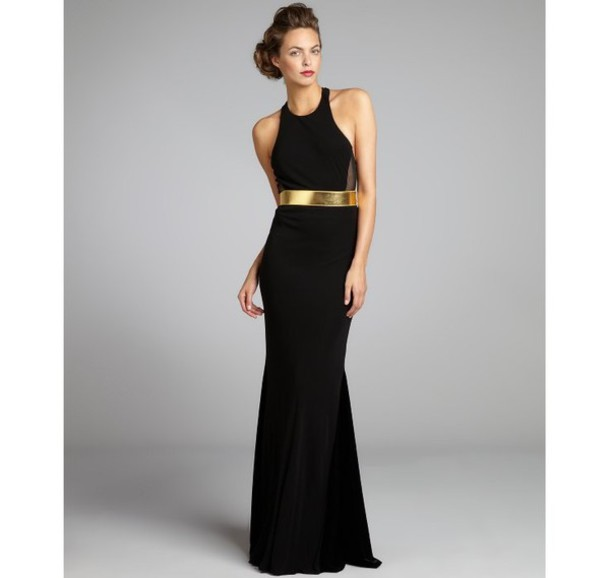dress black gown prom gold belt high neck wheretoget