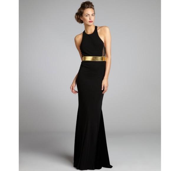 dress black gown prom gold belt high neck wheretoget