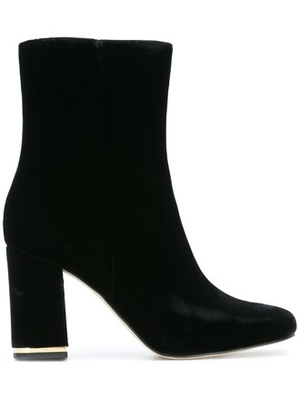 women boots leather black velvet shoes