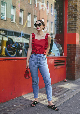 top ruffled top tumblr red top ruffle shoes black shoes denim jeans blue jeans sunglasses cat eye bag