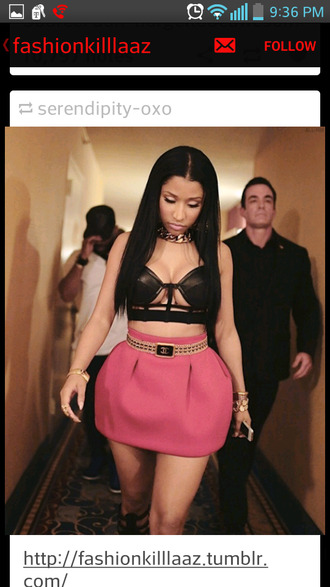 skirt pink black bralette nicki minaj black bralette black bralet pink skirt pink high waisted skirt chanel chanel belt