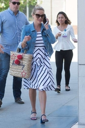 dress,reese witherspoon,stripes,striped dress,summer dress,sunglasses,bag,sandals,jacket,denim jacket,summer outfits,shoes,summer shoes