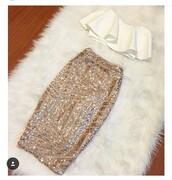 skirt,nude,beige,sequins,mid,midi skirt,gold,gold sequins