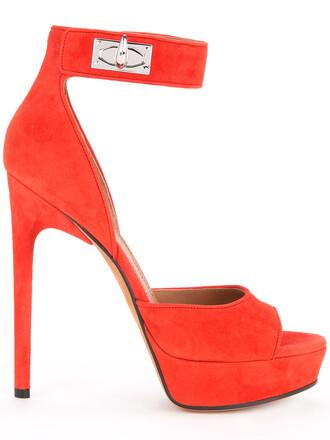 women shark sandals suede yellow orange shoes