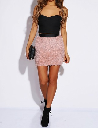 Fuzzy Knit Skirt - Blush Pink - Modern Edge Clothing