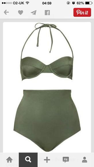 swimwear high waisted two peice olive khaki 50s style classy elegant