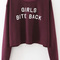 Burgundy letter print sweatshirt -shein(sheinside)