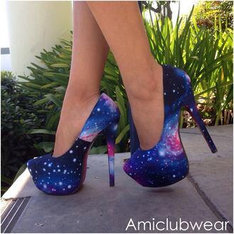 shoes galaxy print galaxy shoes high heels pink
