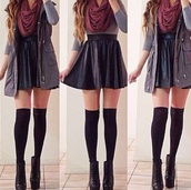skirt,scarf,sweater,shoes,black,high waisted,cute,leather,shortskirt,fall outfits,t-shirt,jacket,vest,shirt,underwear,black leather skirt,inlove,like,coat,burgundy,soft,pretty,wedges,blouse,dress,red scarf,grey shirt,leather skater skirt,combat jacket,skater skirt,gray jacket,socks,high socks,clothes,boots,knee high socks,black skirt,short black skirt,sleeveless coat,mini skirt,heels