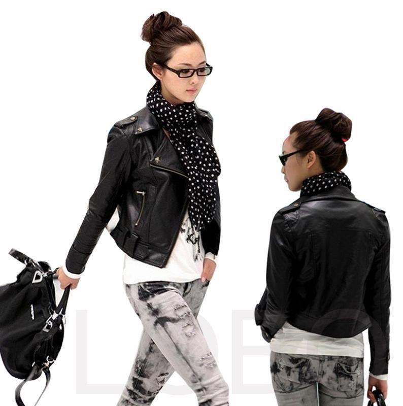 Spring autumn leather motorcycle biker clothing punk pu leather zip up women's short slim zipper jacket rivets lapel outerwear