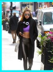 pants,leather leggings,leggings,workout leggings,adidas,gigi hadid,model,black,white clutch,purple bra,purple,black leggings,black adidas workout leggings,victoria's secret model,model off-duty