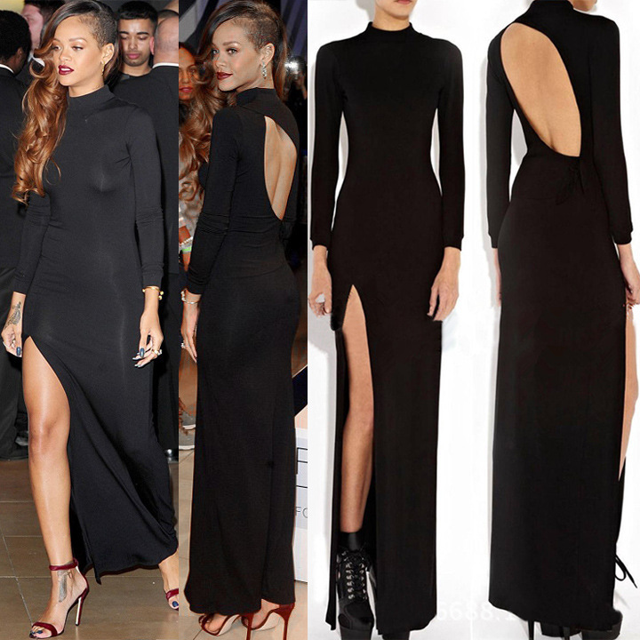 Hot sexy long black dress