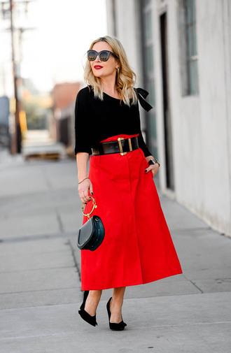 thehuntercollector blogger skirt top belt shoes bag jewels sunglasses red skirt midi skirt pumps