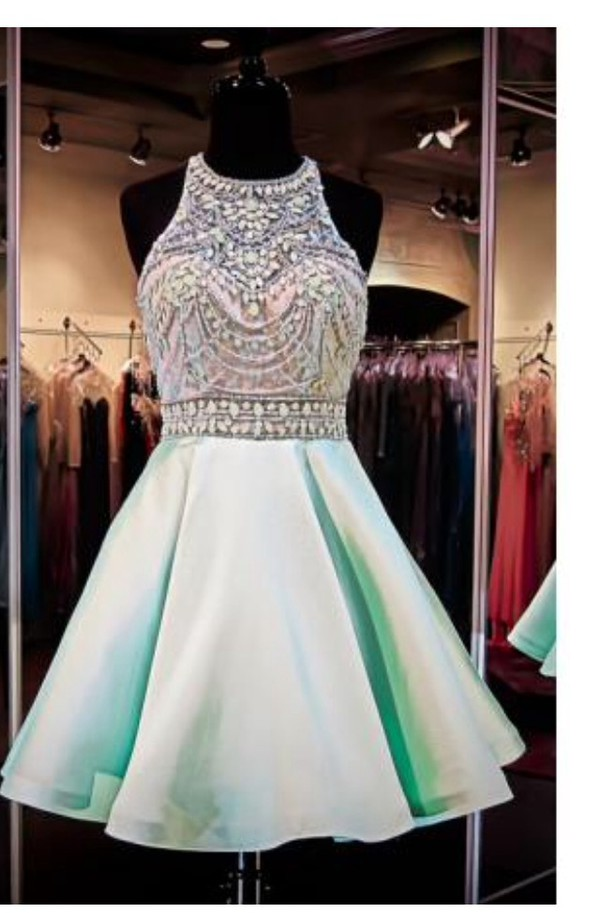 Mint Short Homecoming Dress High Beaded Neckline Open Back Pockets