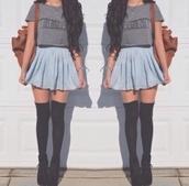 skirt,socks,blouse,top,hipster,grunge,t-shirt,jeans,shoes,grey t-shirt,los angeles shirt,blue skirt,denim skirt,long socks
