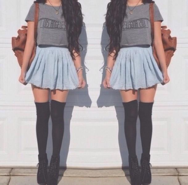 skirt socks blouse top hipster grunge t-shirt jeans shoes grey t-shirt los angeles shirt blue skirt denim skirt long socks
