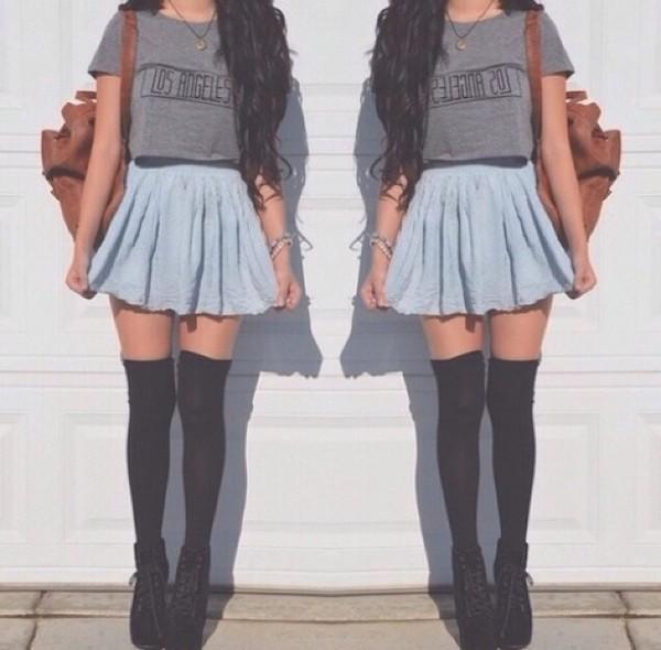 skirt socks blouse jeans