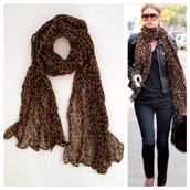 scarf,leopard scarf,animal print,celebrity style steal
