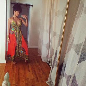 dress tribal dress kaftan dress thick strap dress african dress african print dress african print long dress long beach dress