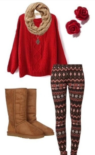 red knitted sweater red sweater leggings