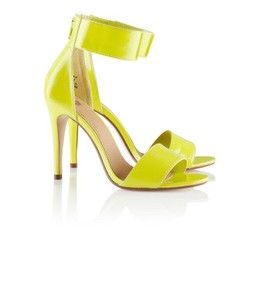 Conscious Neon Yellow Green Sandal Ankle Strap Stiletto Heels Sz 7 ...