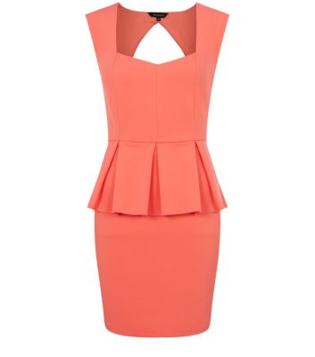 Coral Open Back Pleated Peplum Dress
