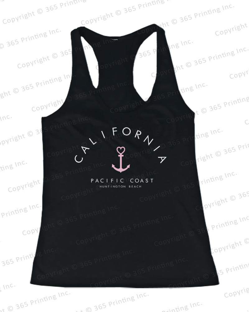 Women's Beach Tank Tops California Pacific Coast Huntington Beach Anchor Tanks | eBay