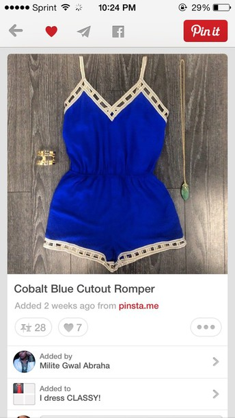 romper cobalt blue cardigan sparten blue blue romper dress colvet blue romper jumpsuit blue cute top cut off shorts