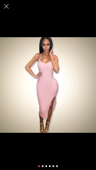 dress fashion pink slit dress strappy pink dress spring spaghetti strap summer sundress bodycon baby pink
