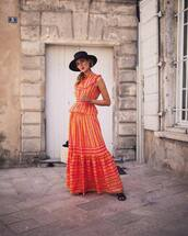 top,skirt,tumblr,orange,orange skirt,matching set,peplum top,sleeveless,sleeveless top,maxi skirt,co ord,shoes,mules,hat