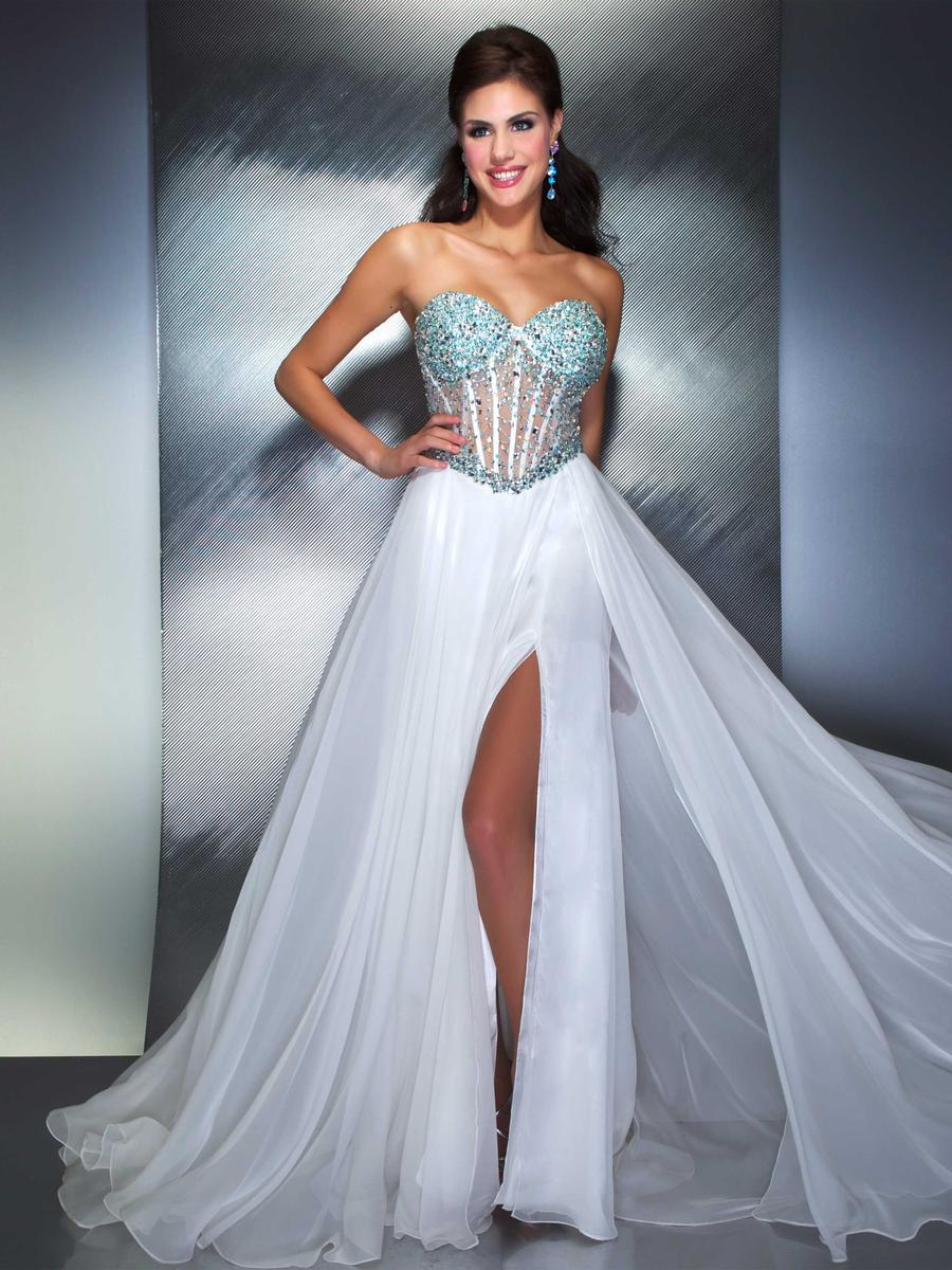 Macduggal prom sexy beaded illusion corset dress 61285m