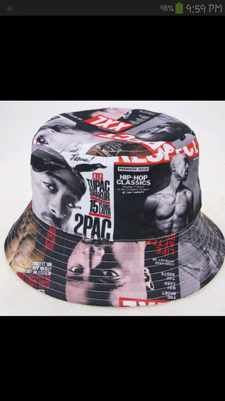 vintage hip-hop hat bucket hat tupac magazine cover hat rappers
