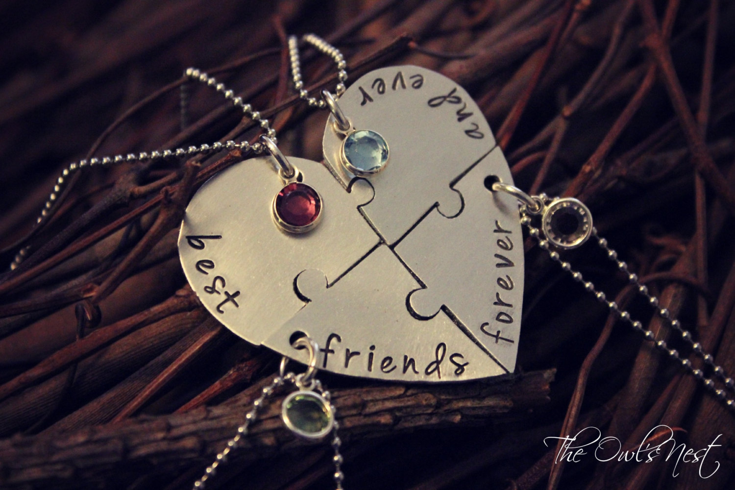 Hand Stamped Best Friends Forever And Ever 4 Piece Heart ...