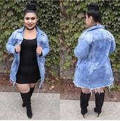 jacket,denim jacket,long jean jacket,plays size jacket,cute,plus size,curvy,distressed jacket,girly,grunge jean jacket