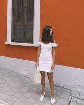 dress,white dress,mini dress,off the shoulder dress,white shoes,handbag