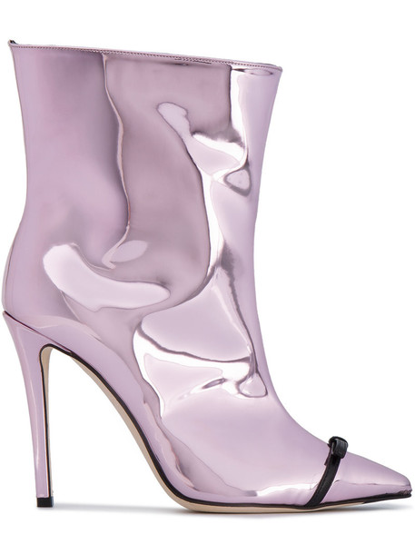 Marco De Vincenzo open zip metallic women ankle boots leather purple pink shoes