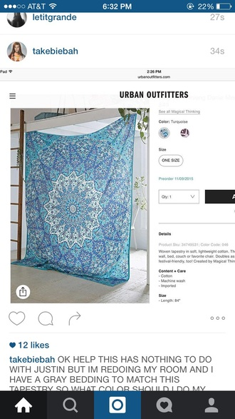 home accessory tumblr tapestry mandala boho blue hipster