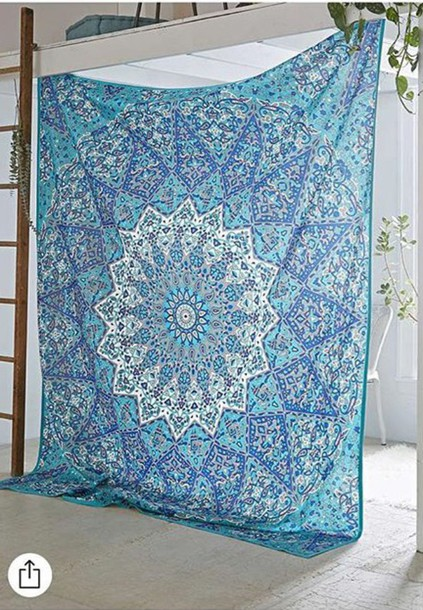 Home Accessory Tumblr Tapestry Mandala Boho Blue