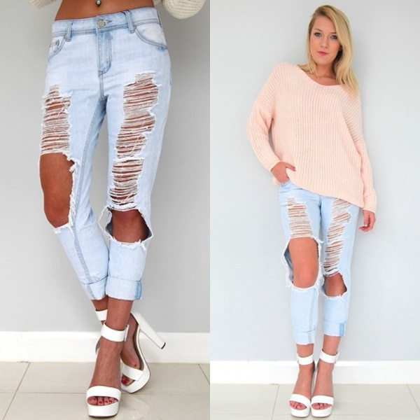Boyfriend shredded ripped jeans light blue 7 8 9 10 11 12 14