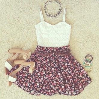 dress floral dress fashion lace dress hat