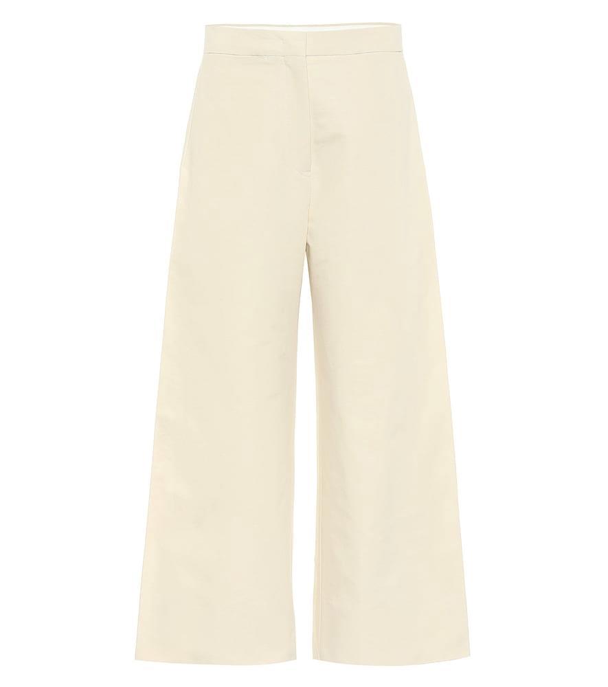 High-rise wide-leg cotton pants