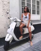 shorts,tumblr,stripes,striped shorts,sandals,flat sandals,espadrilles,top,white top,tank top,white tank top,shoes